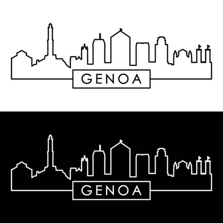 Genoa skyline. Linear style. Editable vector file.