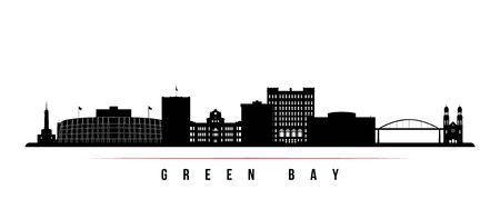 Green Bay skyline horizontal banner. Black and white silhouette of Green Bay, Wisconsin. Vector template for your design.