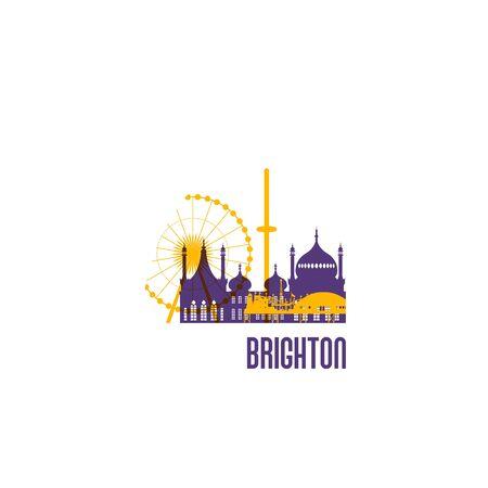 Brighton city emblem. Colorful buildings. Vector illustration.