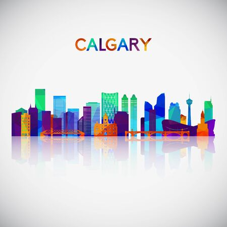 Calgary skyline silhouette in colorful geometric style. Symbol for your design. Vector illustration.