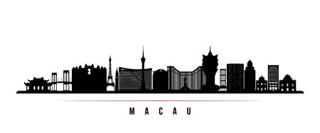 Macau skyline horizontal banner. Black and white silhouette of Macau. Vector template for your design.