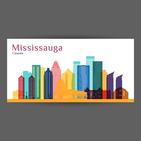 Mississauga city, Canada architecture silhouette. Colorful skyline. City flat design. Vector business card.