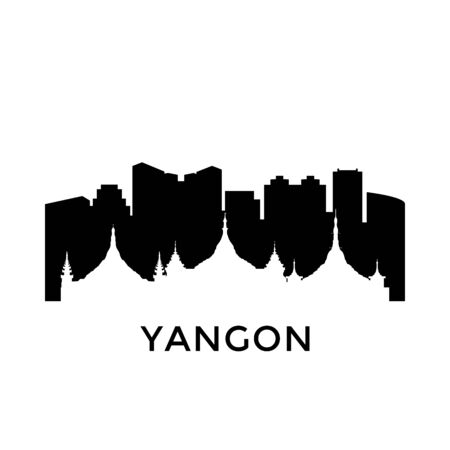 Yangon, Myanmar city skyline. Negative space city silhouette. Vector illustration.