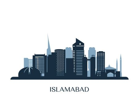 Islamabad skyline, monochrome silhouette. Vector illustration. Banco de Imagens - 139936135