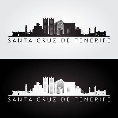 Santa Cruz de Tenerife skyline and landmarks silhouette, black and white design, vector illustration.   Ilustração
