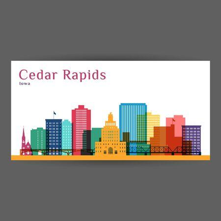 Ilustración de vector de arquitectura colorida de Cedar Rapids, silueta de la ciudad de horizonte, rascacielos, diseño plano.