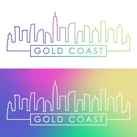 Gold Coast skyline. Colorful linear style. Editable vector file.