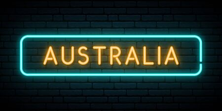 Australia neon sign. Bright light signboard. Vector banner.
