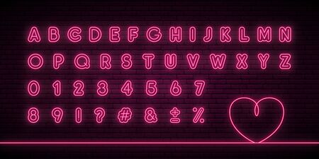 Glowing neon alphabet. Pink neon color letters and numbers. Vector typeface for headlines, posters, websites etc.