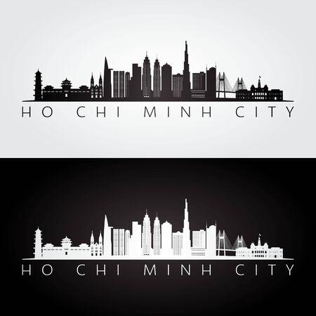 Silueta de horizonte y monumentos de la ciudad de Ho Chi Minh, diseño en blanco y negro, ilustración vectorial.