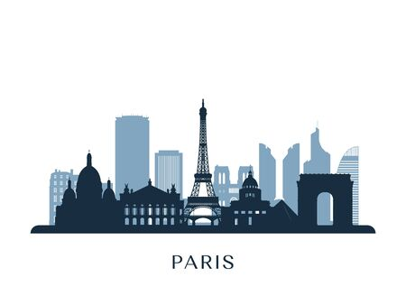 Paris skyline, monochrome silhouette. Vector illustration.