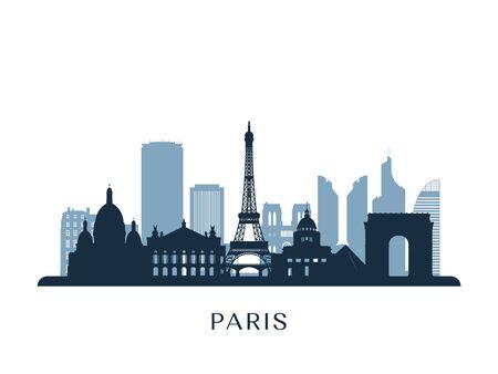 Paris skyline, monochrome silhouette. Vector illustration.