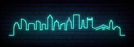 Blue neon skyline of Pittsburgh city. Bright Pittsburgh long banner. Vector illustration.