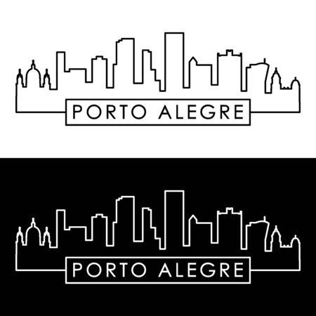 Porto Alegre skyline. Linear style. Editable vector file.