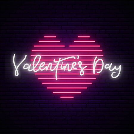 Valentine day neon sign. Vector Valentine day inscription on a heart shape. Bright light signboard.