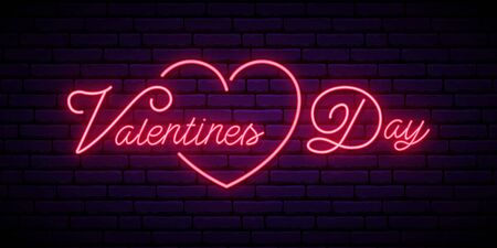 Valentines Day neon signboard. Festive vector banner with pink color lettering. Vector greeting banner.