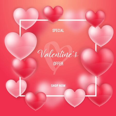 Sale Valentines day banner. 3D Realistic balloons hearts with inscription: Special Valentine's offer, shop now. Template design for banner, flyer, postcard.