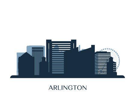 Arlington, Texas skyline, monochrome silhouette. Vector illustration.