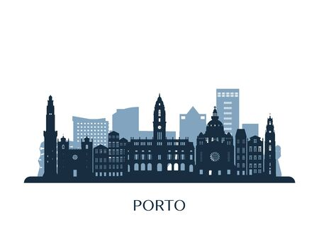 Porto skyline, monochrome silhouette. Vector illustration.