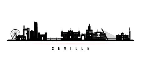 Sevilla skyline horizontal banner. Black and white silhouette of Sevilla, Spain. Vector template for your design. Çizim