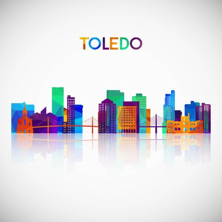 Toledo skyline silhouette in colorful geometric style. Symbol for your design. Vector illustration.