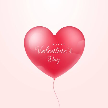 Heart shape 3d realistic balloon isolated on white background. Heart shape. Happy Valentines day. Vector illustration.