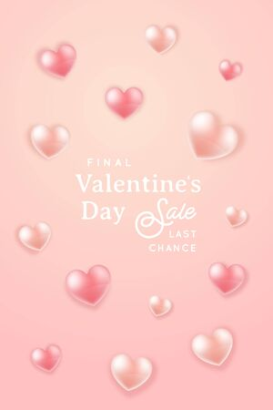 Final Valentines Day Sale. Trendy vertical design for advertising and promo marketing. Vector illustration.