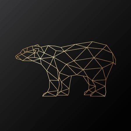 Vector polygonal polar bear illustration. Golden bear in geometric style on dark background.