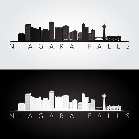 Niagara Falls skyline and landmarks silhouette, black and white design, vector illustration. 일러스트