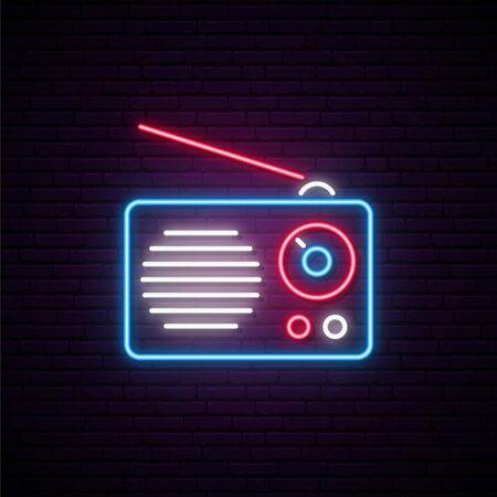 Neon radio sign. Vector radio receiver illustration in bright neon style. Concept design for World Radio Day.