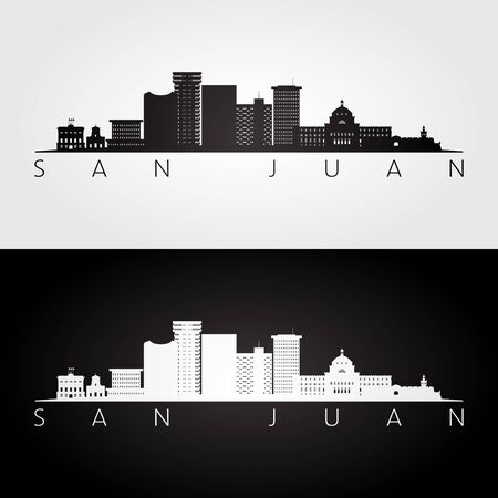 San Juan skyline and landmarks silhouette, black and white design, vector illustration.