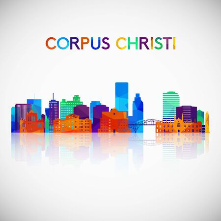 Corpus Christi skyline silhouette in colorful geometric style. Symbol for your design. Vector illustration.