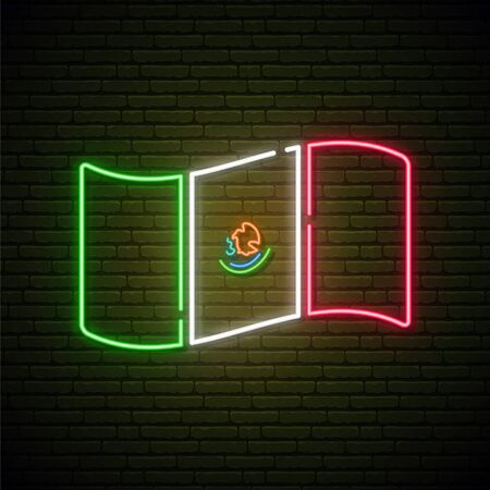 Concept vector illustration for Flag Day in Mexico. Mexico's flag neon sign.