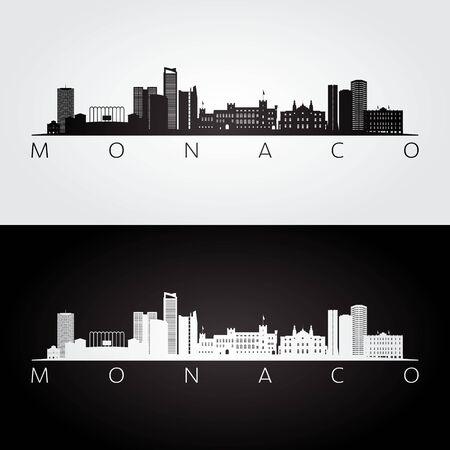 Monaco skyline and landmarks silhouette, black and white design, vector illustration.