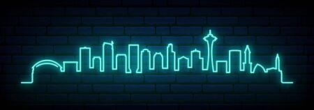 Blue neon skyline of Seattle city. Bright Dallas long banner. Vector illustration.