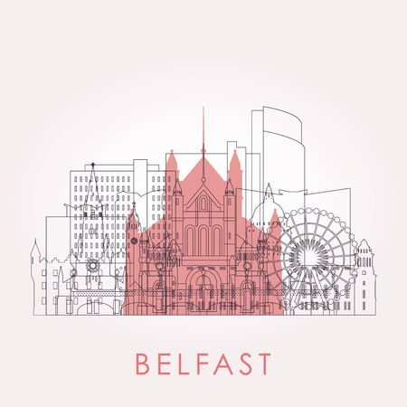 Outline Belfast skyline with landmarks. Vector illustration. Business travel and tourism concept with historic buildings. Image for presentation, banner, placard and web site.