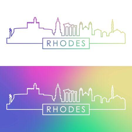 Rhodes skyline. Colorful linear style. Editable vector file.