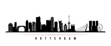 Rotterdam skyline horizontal banner. Black and white silhouette of Rotterdam, Netherlands. Vector template for your design.