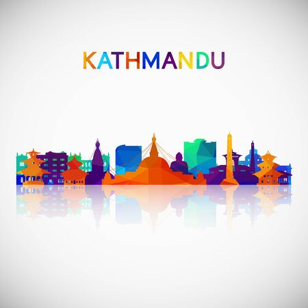 Kathmandu skyline silhouette in colorful geometric style. Symbol for your design. Vector illustration.