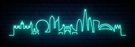 Blue neon skyline of London city. Bright London long banner. Vector illustration.