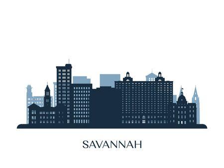 Savannah skyline, monochrome silhouette. Vector illustration.