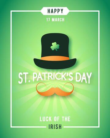 Chance de la Saint-Patrick de la conception de l'affiche irlandaise. Irlandais avec chapeau et moustache rouge concept design. Bannière de vecteur.