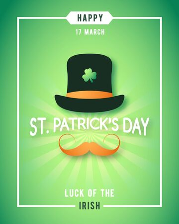 St. Patricks Day luck of the irish poster design. Irishman with hat and red mustache concept design. Vector banner.