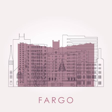 Outline Fargo, North Dakota skyline with landmarks. Vector illustration. Business travel and tourism concept with historic buildings. Image for presentation, banner, placard and web site. 向量圖像
