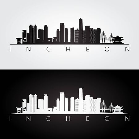 Incheon skyline and landmarks silhouette, black and white design, vector illustration. Vetores
