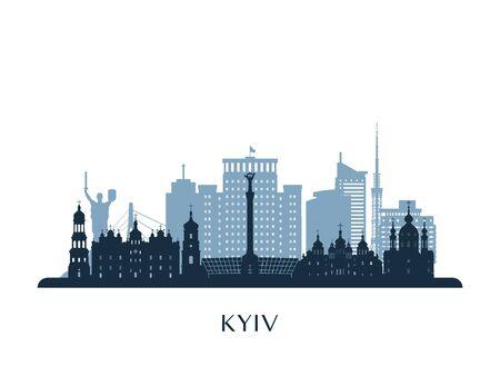 Kyiv skyline, monochrome silhouette. Vector illustration.