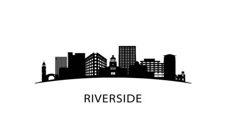 Riverside city skyline. Black cityscape isolated on white background. Vector banner. Vector Illustration
