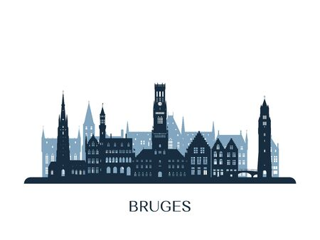 Bruges skyline, monochrome silhouette. Vector illustration.