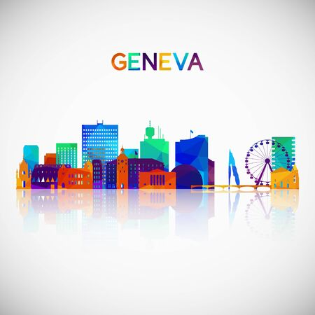 Geneva skyline silhouette in colorful geometric style. Symbol for your design. Vector illustration.