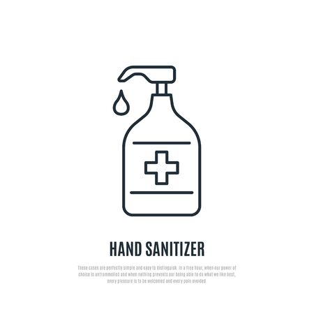 Hand sanitizer line icon isolated on white background. Antibacterial hand gel sign. Prevention of coronavirus. Stock vector illustration for web, mobile apps and print products.